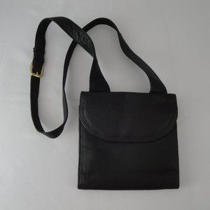 TRAVELSMITH Black Leather Crossbody Small Purse